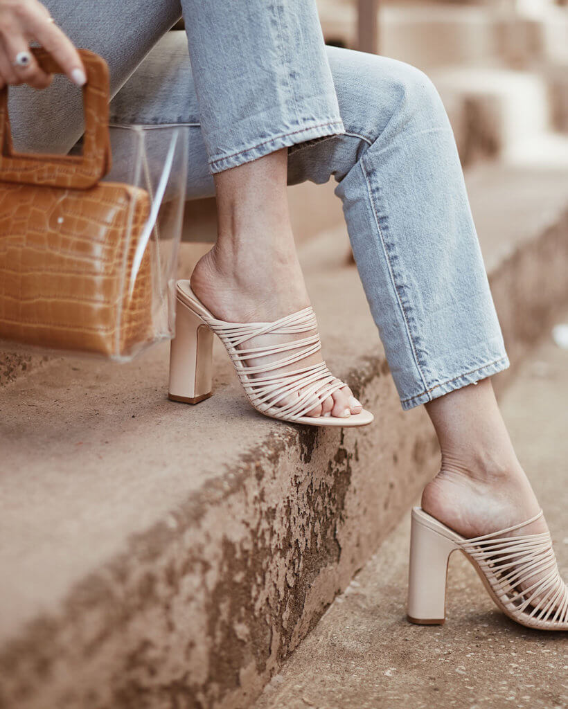 The Sunday Edit_straight leg jeans with strappy nude heels stand bag Philly style blog