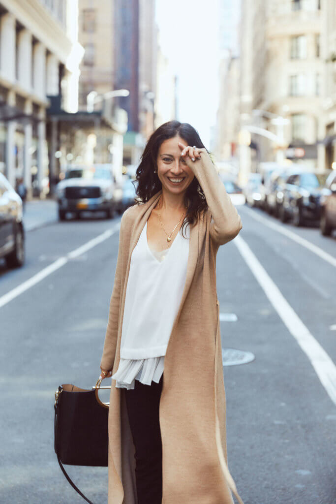 NYC style blog long camel cardigan what to wear work