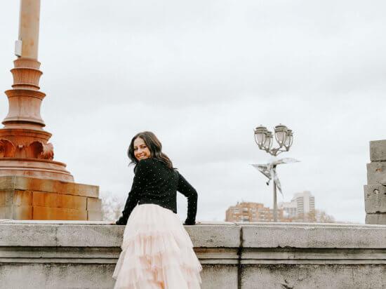 Philly blogger chic wish tier ruffle pink midi skirt Zara black crop top sequins Steve Madden black movinta booties