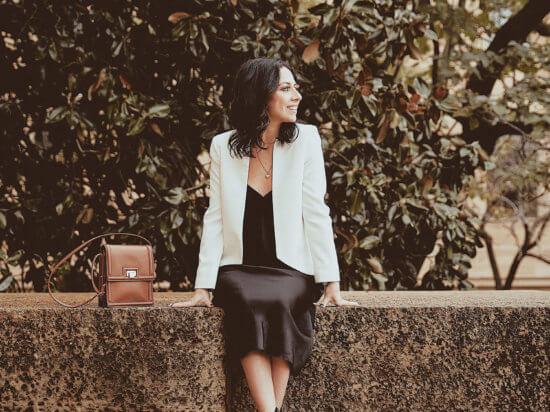 vince slip dress black white blazer black booties Philly style blog