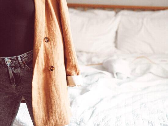 light brown blazer girlfriend Karolina denim